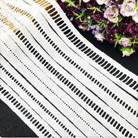 Largo 2.1 / 3 / 3.5 cm de algodão de poliéster guarnição da fita do laço de costura / tecido diy craft garment decoração escadas verifica branco