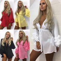 Новые сексуальные женщины бикини прикрыть купальники с длинным рукавом лето шифон пляж цветочные оборки V шеи блузка Женская одежда Красный S-XL