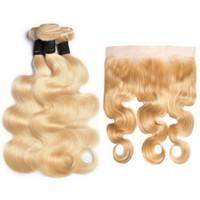 613 شقراء الجسم موجة الشعر حزم مع الدانتيل أمامي البائع البرازيلي ريمي الشعر نسج 613 لون الجسم موجة ريمي الإنسان لحمة الشعر