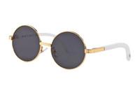 Lunettes de soleil de luxe pour femmes, sans monture, lunettes en corne de buffle avec lentilles rondes, lunettes de soleil en buffle avec métal