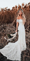 2020 Lover 사회 인어 웨딩 드레스 겸손 민원 빈티지 크로 셰 뜨개질 레이스 오프 숄더 컨트리 농장 정원 Boho Fishtail Bridal Dress WD2