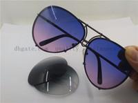 2019 موضة جديدة P'8478 النظارات الشمسية بندقية الإطار الأزرق / الأرجواني العدسات مع صندوق شحن مجاني 66 ملليمتر عدسات قابلة للتبديل