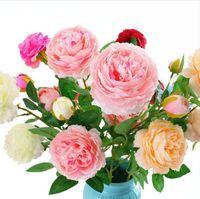 Искусственные розы Цветы Поддельный листьев Шелковый Свадебный букет 3 Peony головки цветка Таблица для дома и офиса украшения DDA123