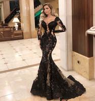 2020 Arabe ASO EBI EBI Noir Dentelle Robes de soirée Perles Sirène Manches longues Peau Robes De Pal Sexy Formel Fête Second Robes de réception ZJ256