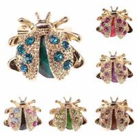 Nuova piccola coccinella Colorful Rhinestones di cristallo Spilla Pin per le donne o ragazze libera il trasporto GB1410