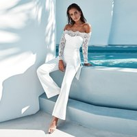 Splicing Eyelash Lace Off Shoulder Belted Jumpsuits Sexy Wom...
