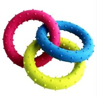 Dog Toys For Small Large Dogs Cats 1 PC Pet Squeak Toys Rubber 3-color Circle Ring Puppy Chew Toys Dog Supplies Wholesale noDC18