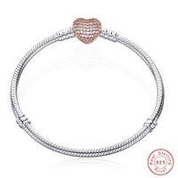 Joyería de la vendimia 925 encantos de plata esterlina del corazón pulsera con caja cabida los granos europeos Pando joyería de la pulsera del brazalete de oro rosa de regalo de las mujeres