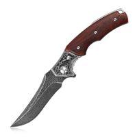 Padrão Kubey DM148 Folding faca de caça gravado Damasco lâmina de madeira Handle bolso Camping Outdoor Ferramenta de Mão Caminhadas Facas