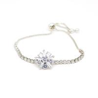 Pulsera de cristal de Fashioh pulsera de cuentas de circón cúbico Pulseras de diamantes de imitación blanco pulseras de cadena pulseras para mujeres Joyería de lujo