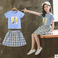 الفتيات اللباس مجموعة الملابس 2019 جديد الصيف الاطفال الملابس مجموعات الأطفال قميص اللباس النشطة مجموعة 2 قطعة 2 منقوشة الألوان size4-14 LY369