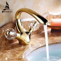 Basin Faucets Gold Brass Crystal Handle Bathroom Faucet Tap ...