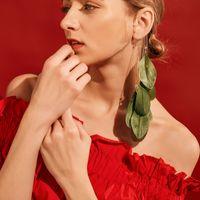 Bohemian Fairy Feather Pendant Clip Earrings Long Link Chain Tassel Non Piercing Ear Wrap Cuff Goldplated Crystal Earrings