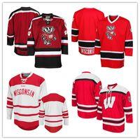 Badgers personalizzati del Wisconsin Faccia fuori da Hockey Jersey 2019 NCAA College Hockey Jersey bianco rosso cucito qualsiasi nome Nome Jersey S-3XL