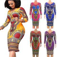 النساء فساتين طويلة الأكمام الخامس الرقبة أفريقيا نمط الخريف فساتين جديدة