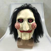 Фильм Пила бензопила резня головоломки кукольные маски с париком волосы латекс жуткий Хэллоуин ужас страшная маска унисекс партия косплей опора