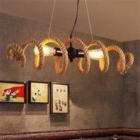 Vintage Pendelleuchten für Küchen personalisierte Wasserleitung LED Hanfseil Kronleuchter Beleuchtung für Coffee Bar Restaurant Corridor
