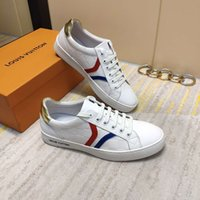 men' s sports shoes leather printed breathable lace- up t...