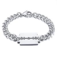 Silber farbe mode einfache männer armreif edelstahl klinge armband armband schmuck geschenk für männer jungen j608