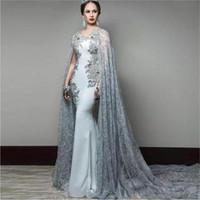2020 새로운 핫 판매 레이스 케이프 쉬어 BATEAU 목 구슬 플러스 사이즈 정장 드레스 스위프 기차 새틴 댄스 파티 드레스 1486와 인어 이브닝 드레스