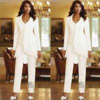 Ivoire manches longues gaine élégante mères pantalons costumes costumes sur mesure volants en mousseline de soie mère des robes de mariée
