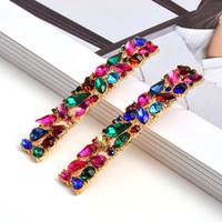 New Rectangle Metal Colorful Rhinestone Long Drop Earrings S...