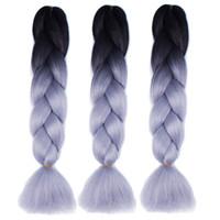 옴 브레 꼰 머리 두 톤 크로 셰 뜨개질 꼰 합성 헤어 익스텐션 24 인치 상자 꼰 100 % KANEKALON 꼰 머리