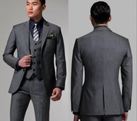 2019 Two Buttons Dark Gray Groom Tuxedos With Notched Lapel ...