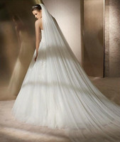 부드러운 얇은 명주 그린 흰색 / 아이보리 웨딩 신부 베일 3m 긴 기차 웨딩 액세서리 헤어 베일 신부