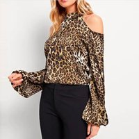 Women Blouses Leopard Print Casual Top Shirt O- Neck Straples...