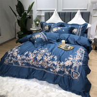 Egyptian Cotton Luxury Royal Bedding Set King Queen Size bed sheet Tribute silk Bed Sheet set Duvet cover