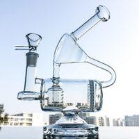 고유 맑은 물 유리 봉 빗 리사이클 오일을 살짝 굴착 인라인 여과기의 14mm 여성 공동 그릇 유리 파이프