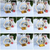 Оригинальность 1-30 Place Holder Акриловое зеркало Поверхность Номер таблицы Знаки шестигранной карты Форма сиденья для свадьбы День рождения партии Decoration2 8xtE1