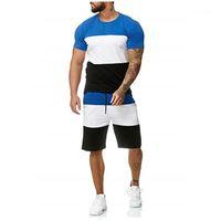La formazione insieme a due pezzi Maschio Maniche corte Outdoor Sports Breve Set per Uomo Fitness serie di abiti all'aperto degli uomini casuali Imposta Colorblock estate