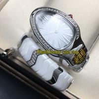 Vsf v2 versão superior serpenti spiga 102182 sp35wswcs.1t disque branco suíço movimento de quartzo mulheres assistir cerâmico tubogas pulseira de pulseira relógios de luxo