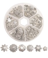 One Box of 210PCS Antiqued Silver Metal Bead Caps for jewelry making