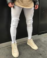 Белые Мужские Джинсы Складки Отверстия На Молнии Эластичные Мыть Ретро Высокой Уличной Моды Джинсовые Брюки Разорвал Проблемные Мотоцикл Брюки