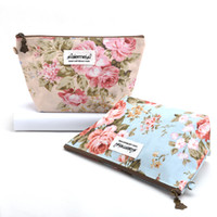 Japan&Korean Vintage Floral Printed Cosmetic Bag Female Zipp...