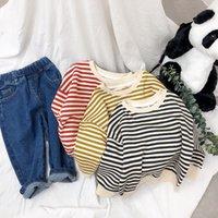 Küçük Erkek Kız Çizgili Tişörtü Tasarımcı Hoodies Bahar Sonbahar Modası Çocuk Bountique Giysileri Sweatershirts