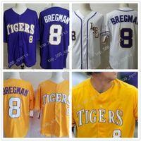 LSU النمور كلية البيسبول 8 alex bregman all مخيط البيسبول الفانيلة S-3XL الأرجواني الأصفر الأبيض شحن مجاني 10 هارون نولا 5 آرون هيل