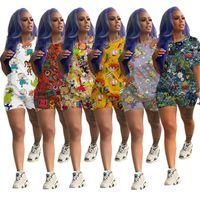 Frauen Shorts Anzug Karikatur-Druck-Zweiteiler Kurzarm T-Shirt Tops + Shorts Mode-Sommer-T-Shirt Sportmode Homewear