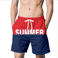 2019 Summer Mens Swim Shorts Beach Pants Summer Printed Casual Swimwear Pants Contrast Color Shorts with Free Shipping