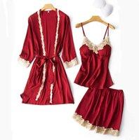 Atractivo de las mujeres 3PCS pijamas Set V-Cuello camisones vestir en casa Negligee ropa de dormir de la ropa interior Pijama primavera del camisón del traje del vestido de la ropa de noche Traje