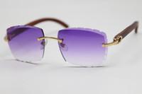 Vente en gros 3524015 lunettes en bois d'or lunettes de soleil unisexe bleue bleue jaune lentille mode hommes C décoration cadre cadre glasse