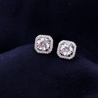 S925 Pure silver charm stud Earrings with white square diamo...