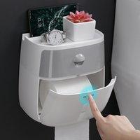 Titular de papel higiênico à prova d 'água parede montada em papel higiênico bandeja de papel rolo de papel de armazenamento caixa de armazenamento caixa de tecido de bandeja produto banheiro T200425