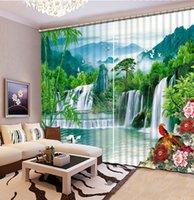 럭셔리 3D 창 커튼 거실 샤워 후크 환영하는 소나무와 폭포 커튼 블랙 아웃 태피스트리 사용자 정의 크기
