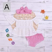 New Pretty Baby Girl Lace Outfit Solid Off Shoulder Hollow S...