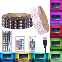 USB RGB LED Strip 5V impermeável 5050 SMD RGB USB LED Light Strip fita Regulável fita lâmpada LED 17key 44Key / 24key adicionar WiFi