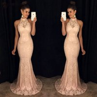Blush Pink Mermaid Evening Dresses 2019 Evening Gowns Long W...